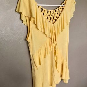 Nine West Yellow Flutter Sleeve Blouse